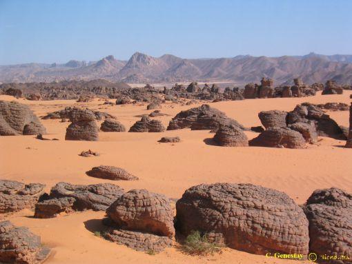 BİR ZAMANLARIN VERİMLİ TOPRAKLARI Tassilli`nin altında, devrilmiş kayalardan bir takımada, Sahra`nın kumlu okyanusunda uzaklara doğru uzanır.